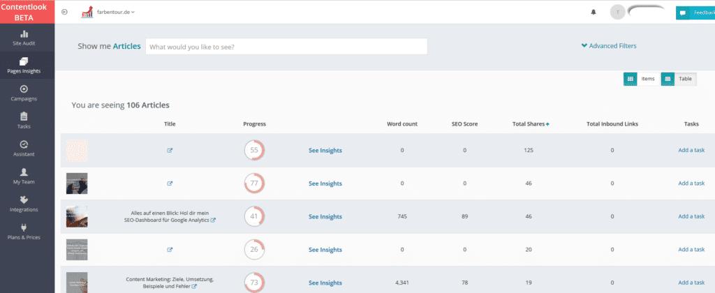 contentlook - Kostenlose SEO Tools